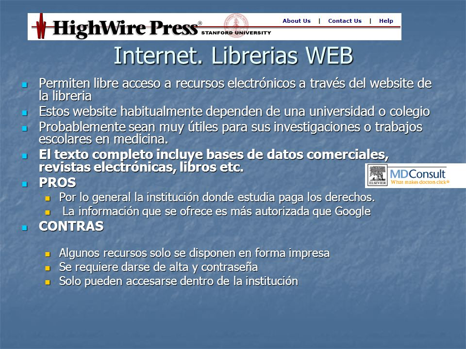 Internet. Librerias WEB