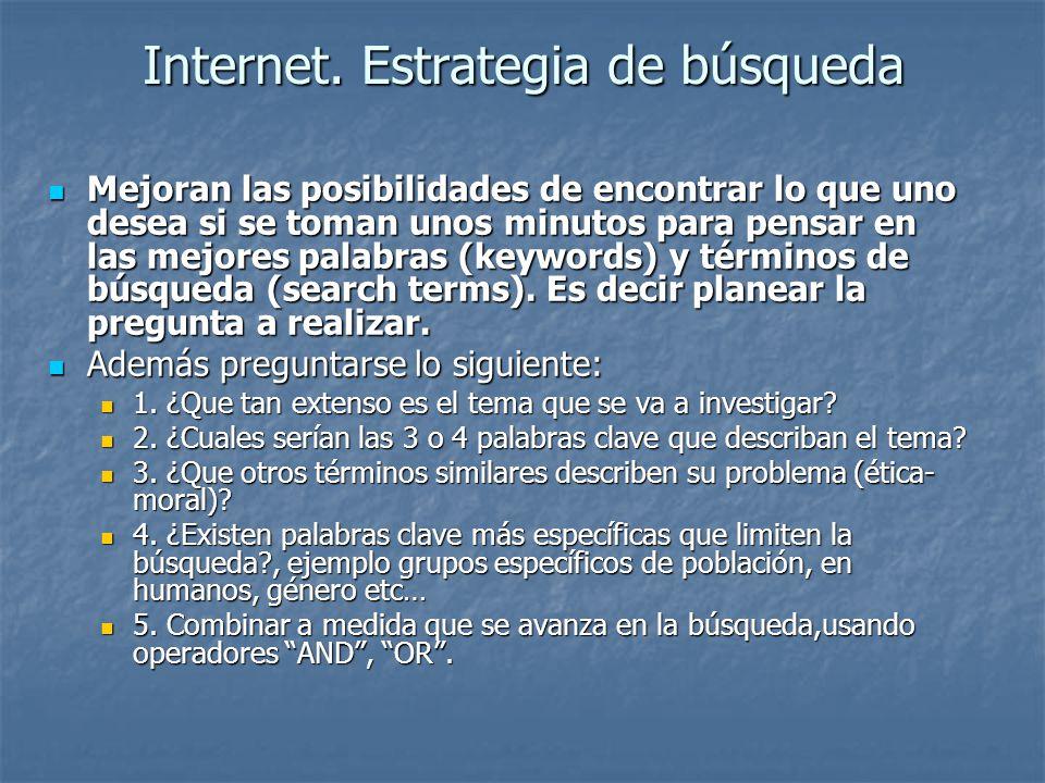 Internet. Estrategia de búsqueda