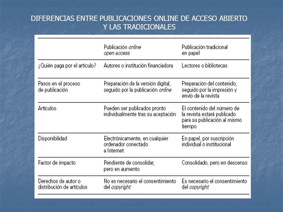DIFERENCIAS ENTRE PUBLICACIONES ONLINE DE ACCESO ABIERTO Y LAS TRADICIONALES