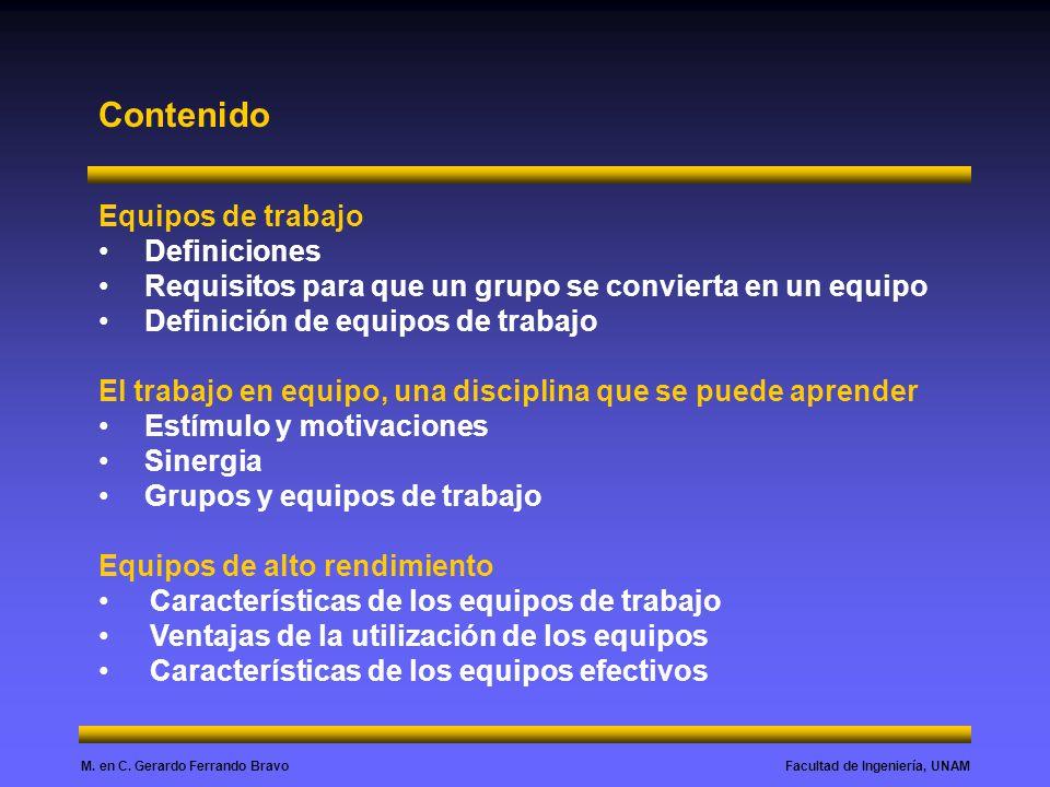 Contenido Equipos de trabajo Definiciones