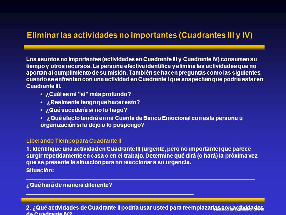 Eliminar las actividades no importantes (Cuadrantes III y IV)