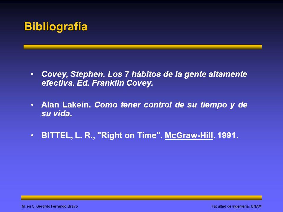 Bibliografía Covey, Stephen. Los 7 hábitos de la gente altamente efectiva. Ed. Franklin Covey.