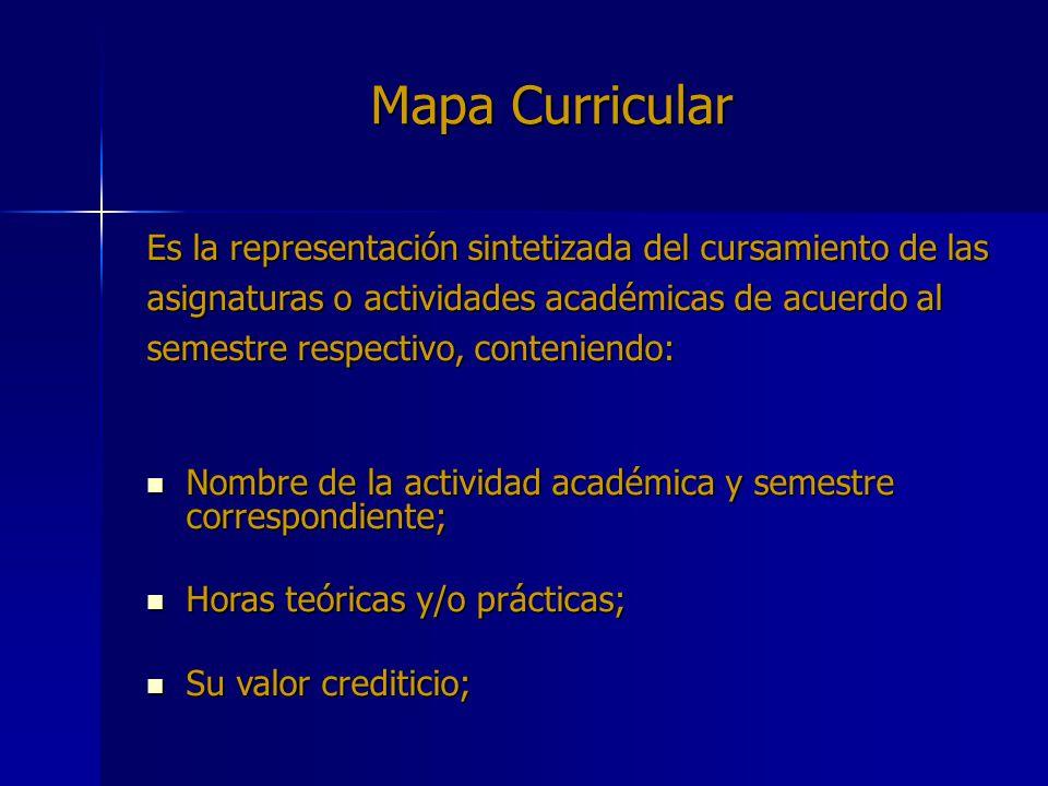Mapa Curricular Es la representación sintetizada del cursamiento de las. asignaturas o actividades académicas de acuerdo al.