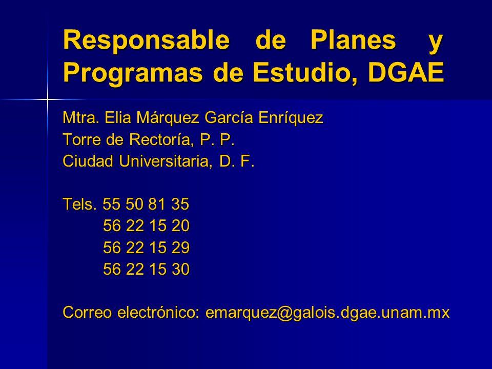 Responsable de Planes y Programas de Estudio, DGAE