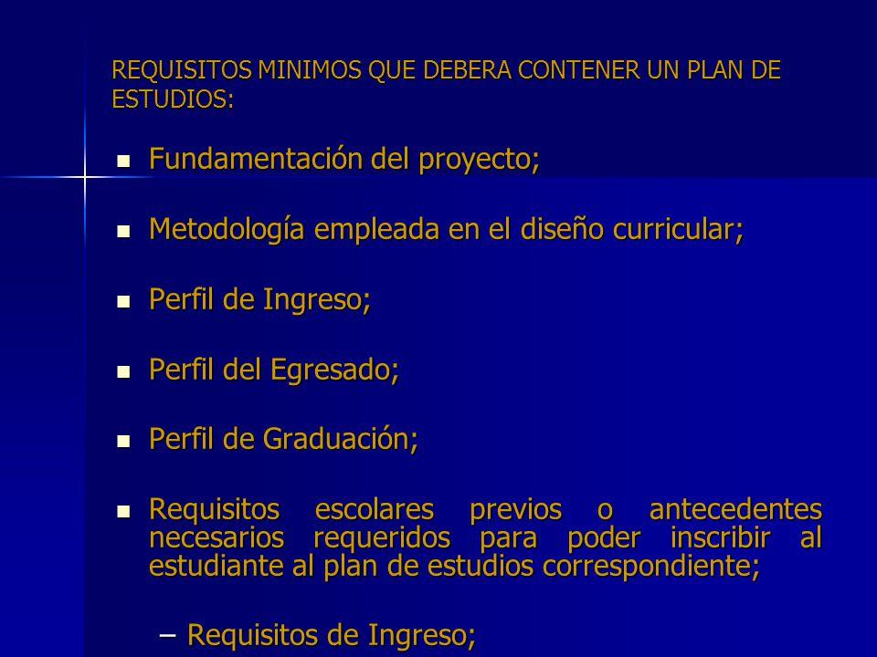 REQUISITOS MINIMOS QUE DEBERA CONTENER UN PLAN DE ESTUDIOS:
