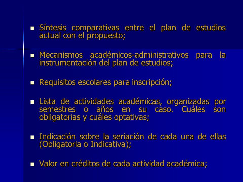Síntesis comparativas entre el plan de estudios actual con el propuesto;