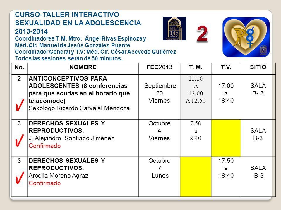 2 CURSO-TALLER INTERACTIVO SEXUALIDAD EN LA ADOLESCENCIA 2013-2014 No.