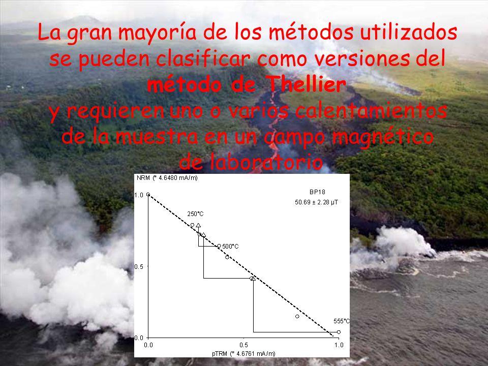 La gran mayoría de los métodos utilizados se pueden clasificar como versiones del método de Thellier y requieren uno o varios calentamientos de la muestra en un campo magnético