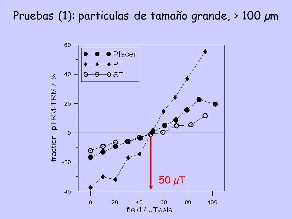 Pruebas (1): particulas de tamaño grande, > 100 µm