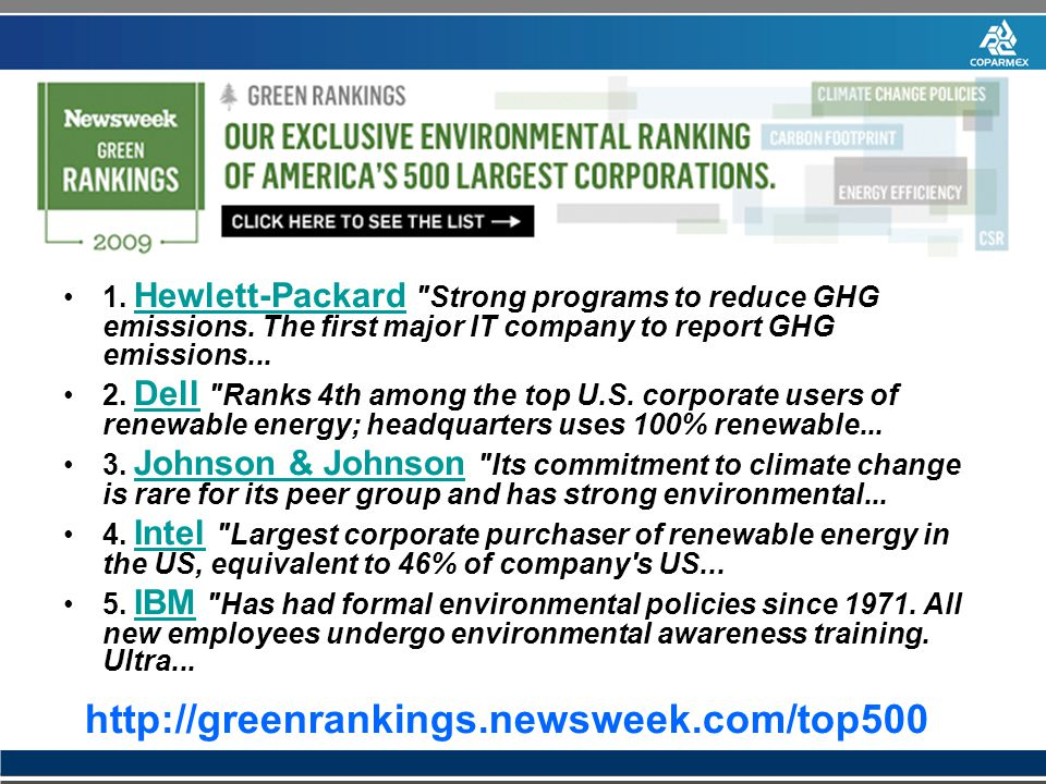 1. Hewlett-Packard Strong programs to reduce GHG emissions