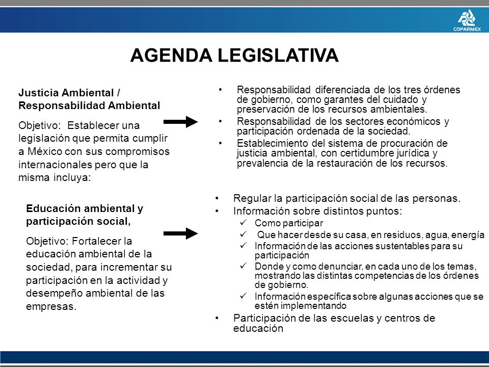 AGENDA LEGISLATIVA Justicia Ambiental / Responsabilidad Ambiental