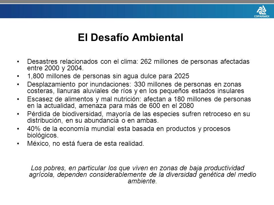El Desafío Ambiental Desastres relacionados con el clima: 262 millones de personas afectadas entre 2000 y 2004.