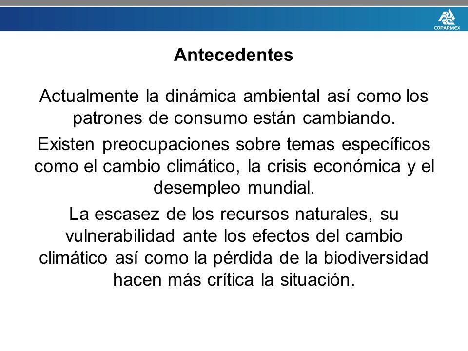 Antecedentes Actualmente la dinámica ambiental así como los patrones de consumo están cambiando.