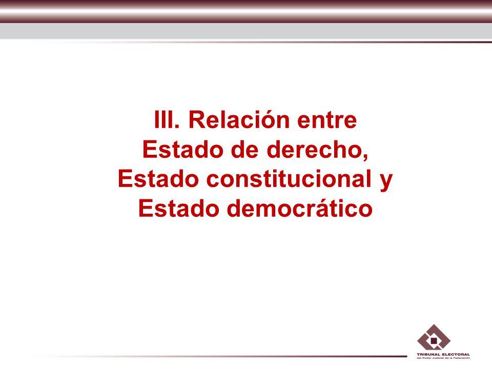 III. Relación entre Estado de derecho, Estado constitucional y Estado democrático