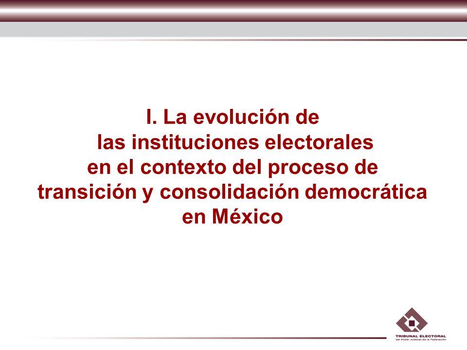 I. La evolución de las instituciones electorales en el contexto del proceso de transición y consolidación democrática en México