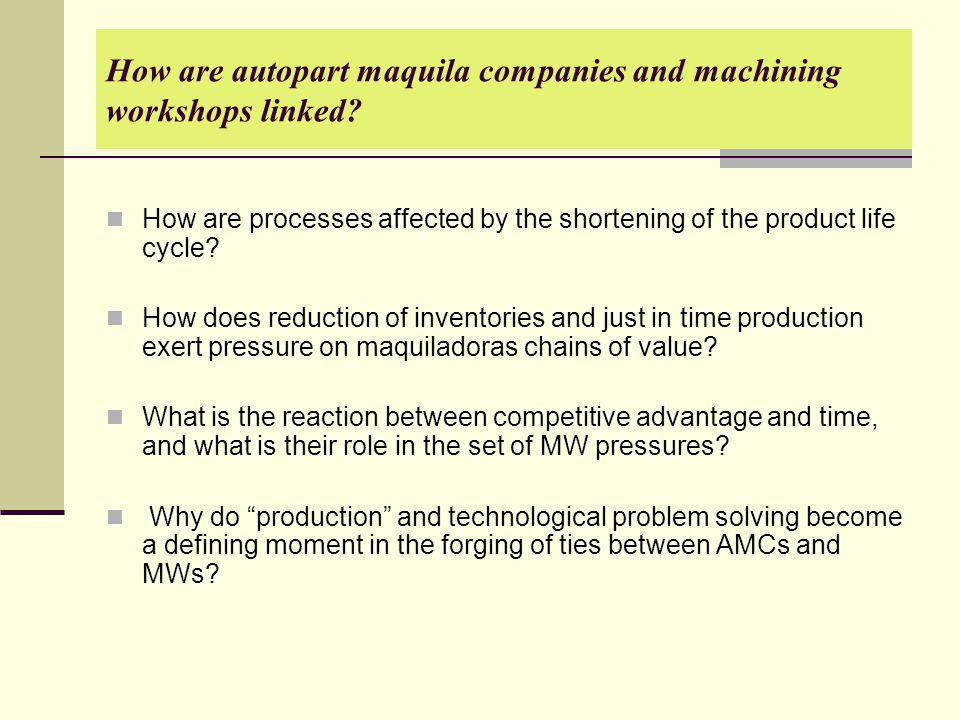 How are autopart maquila companies and machining workshops linked