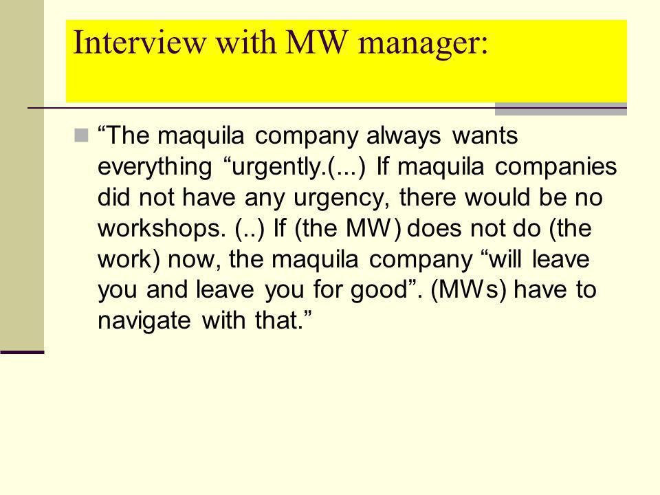 Interview with MW manager: