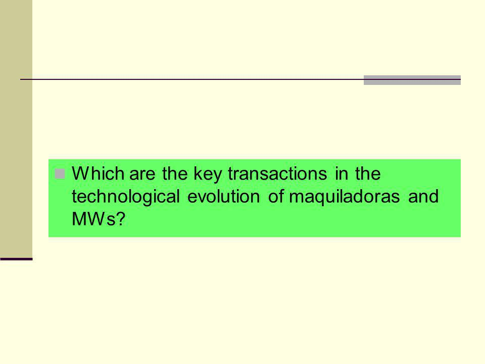 Which are the key transactions in the technological evolution of maquiladoras and MWs