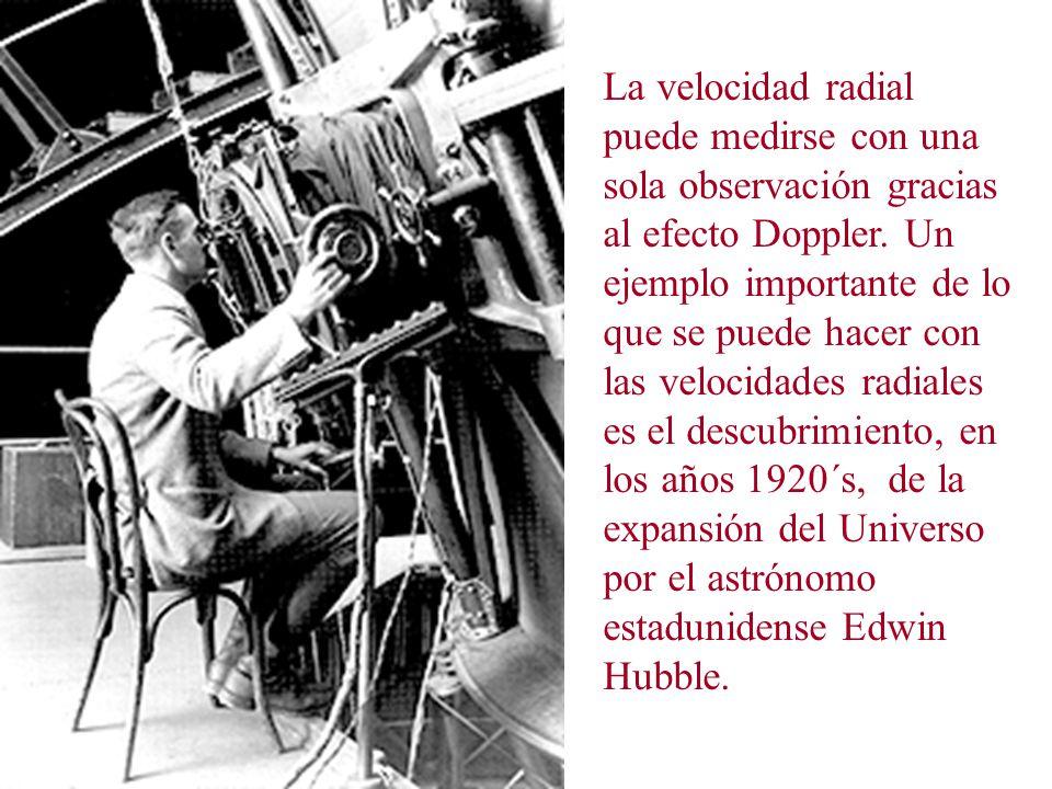 La velocidad radial puede medirse con una sola observación gracias al efecto Doppler.