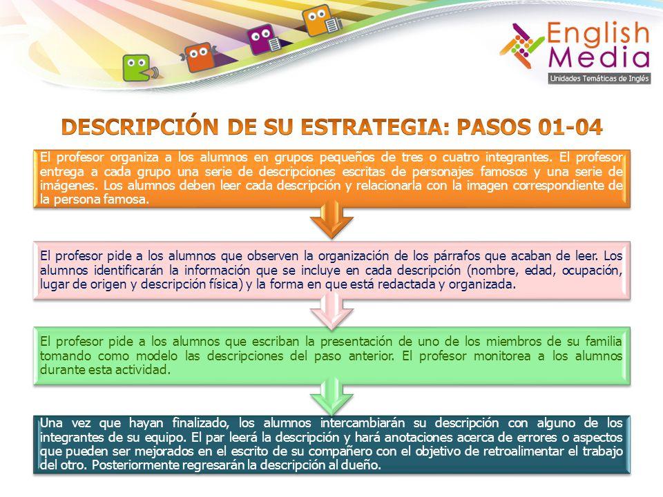 DESCRIPCIÓN DE SU ESTRATEGIA: PASOS 01-04