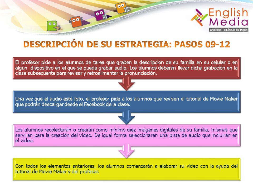 DESCRIPCIÓN DE SU ESTRATEGIA: PASOS 09-12