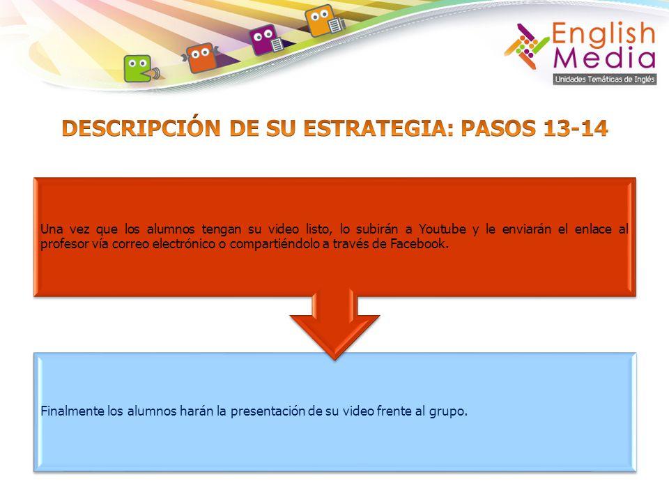 DESCRIPCIÓN DE SU ESTRATEGIA: PASOS 13-14