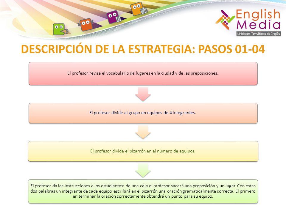 DESCRIPCIÓN DE LA ESTRATEGIA: PASOS 01-04