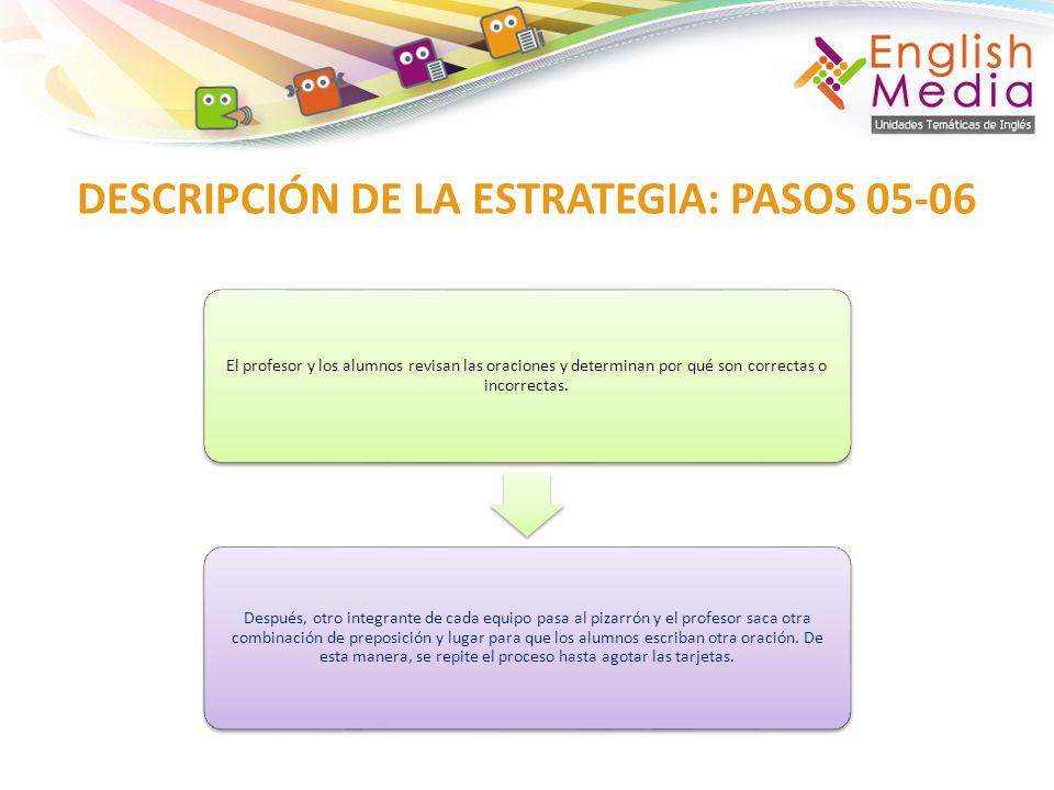 DESCRIPCIÓN DE LA ESTRATEGIA: PASOS 05-06