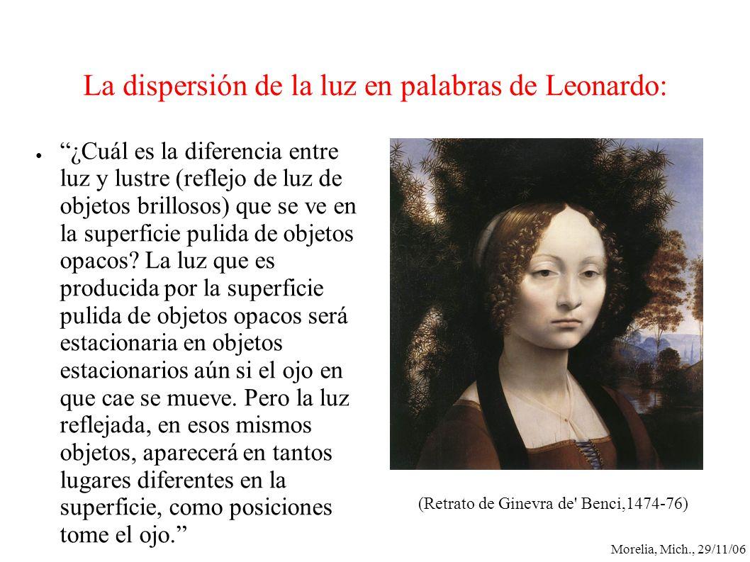 La dispersión de la luz en palabras de Leonardo: