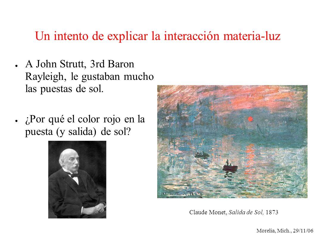 Un intento de explicar la interacción materia-luz