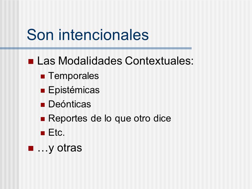 Son intencionales Las Modalidades Contextuales: …y otras Temporales