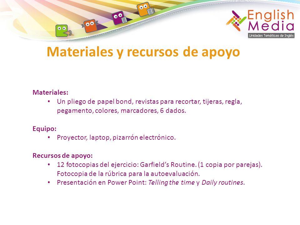 Materiales y recursos de apoyo