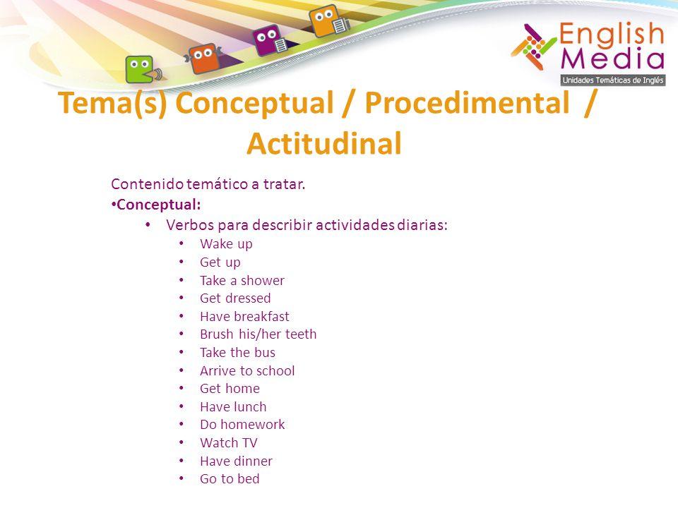 Tema(s) Conceptual / Procedimental / Actitudinal