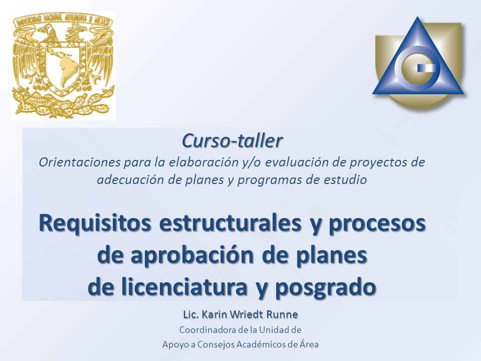 Curso-taller Orientaciones para la elaboración y/o evaluación de proyectos de adecuación de planes y programas de estudio Requisitos estructurales y procesos de aprobación de planes de licenciatura y posgrado