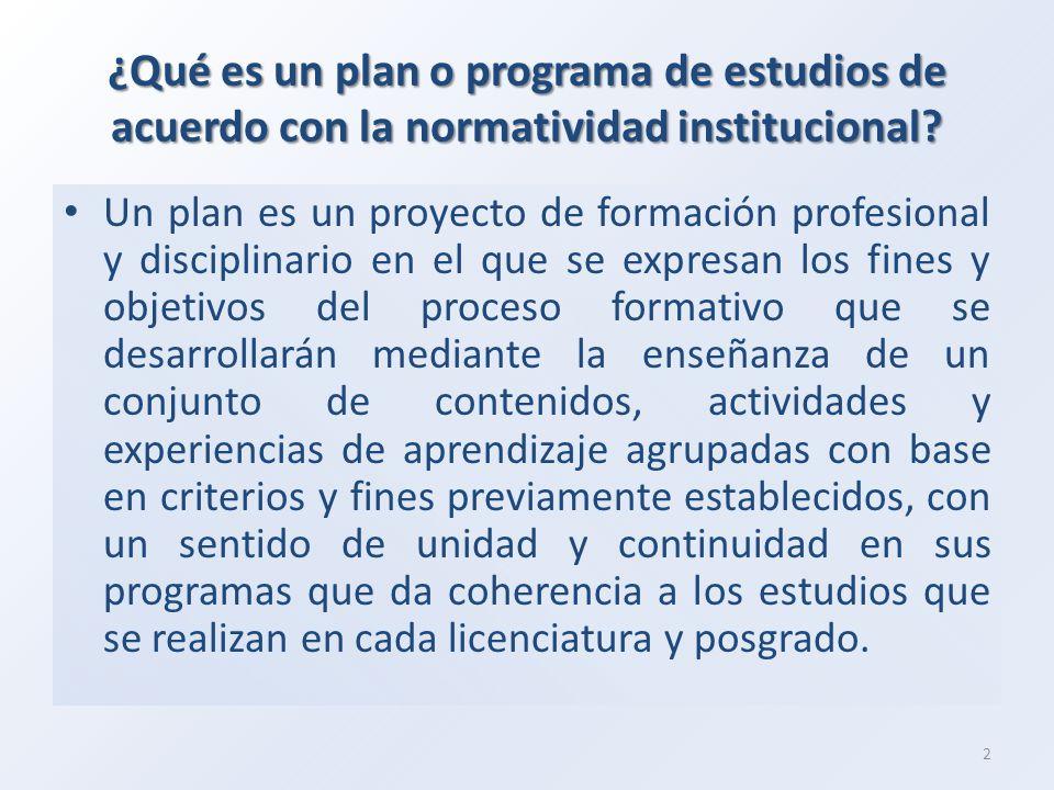¿Qué es un plan o programa de estudios de acuerdo con la normatividad institucional
