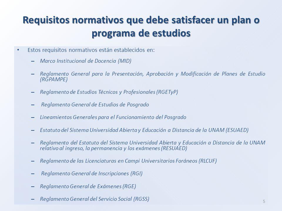 Requisitos normativos que debe satisfacer un plan o programa de estudios