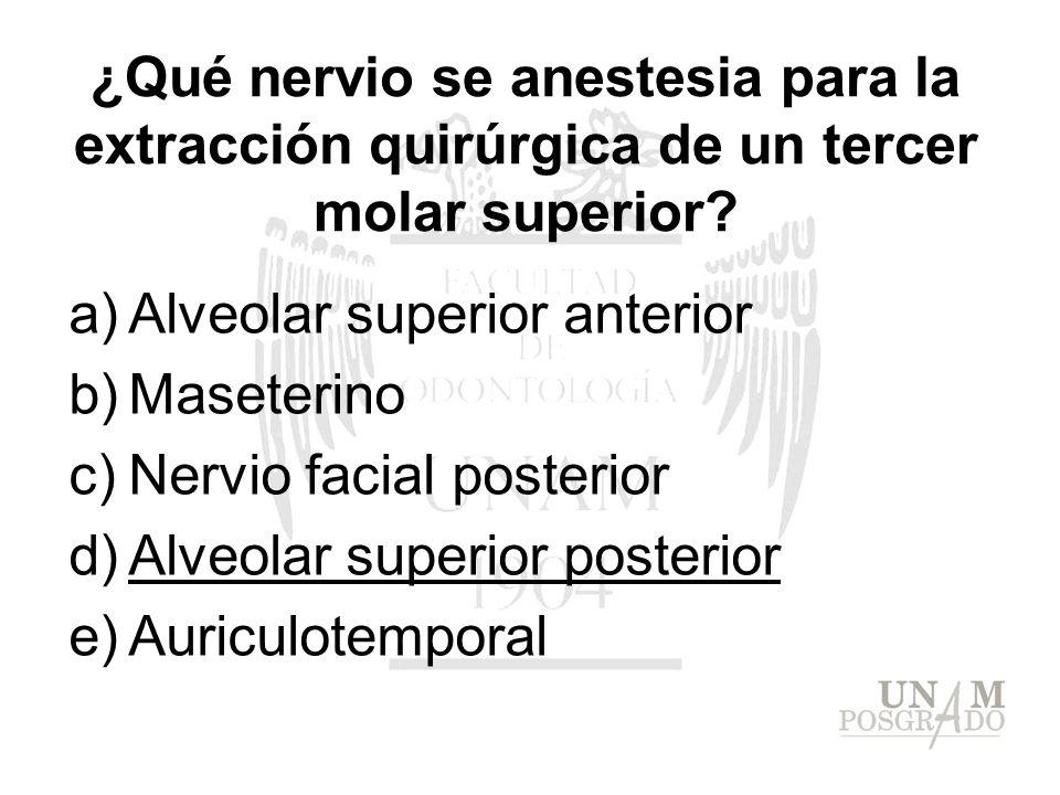 ¿Qué nervio se anestesia para la extracción quirúrgica de un tercer molar superior