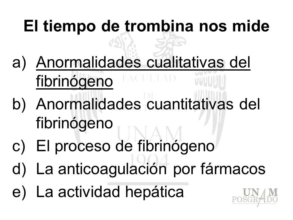 El tiempo de trombina nos mide