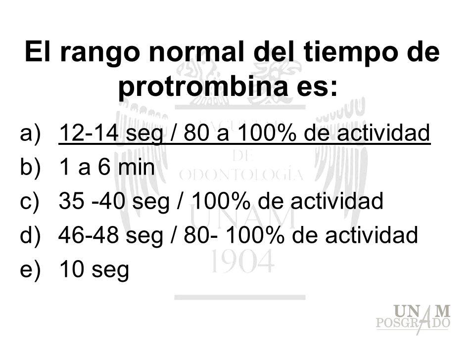 El rango normal del tiempo de protrombina es: