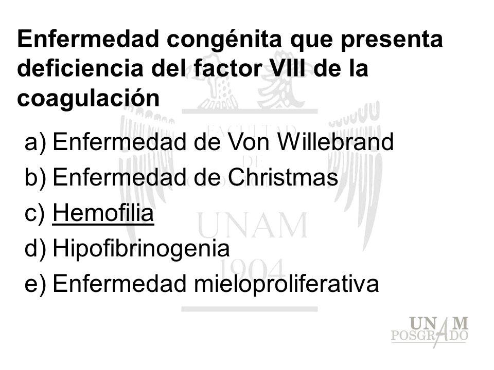 Enfermedad congénita que presenta deficiencia del factor VIII de la coagulación