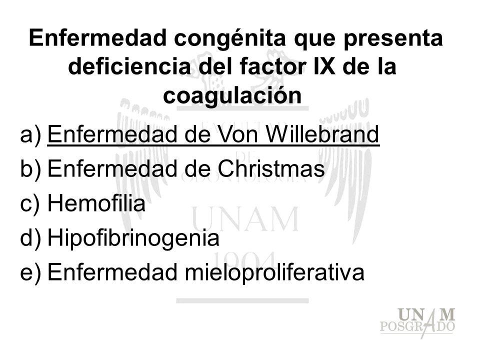 Enfermedad congénita que presenta deficiencia del factor IX de la coagulación