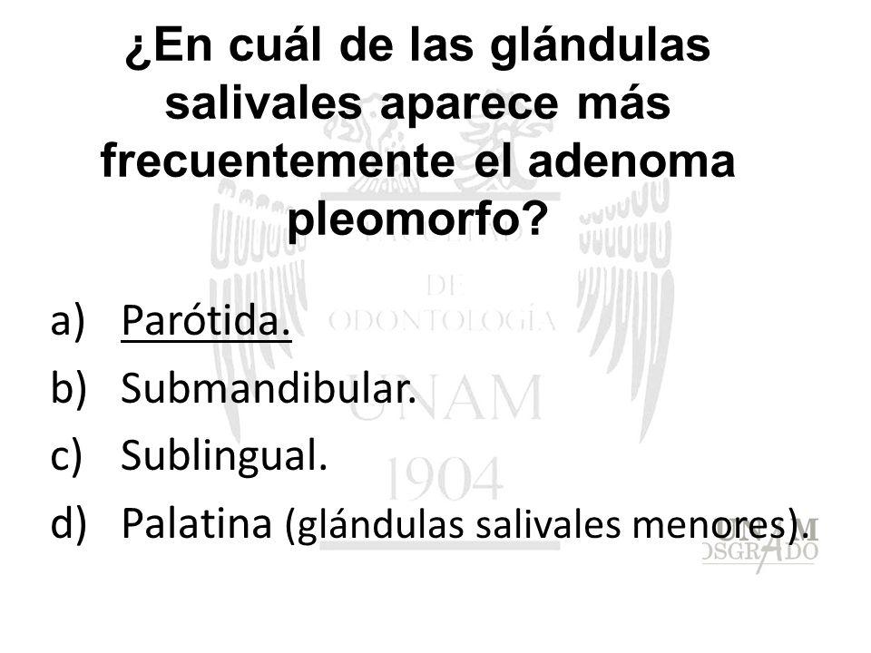 ¿En cuál de las glándulas salivales aparece más frecuentemente el adenoma pleomorfo