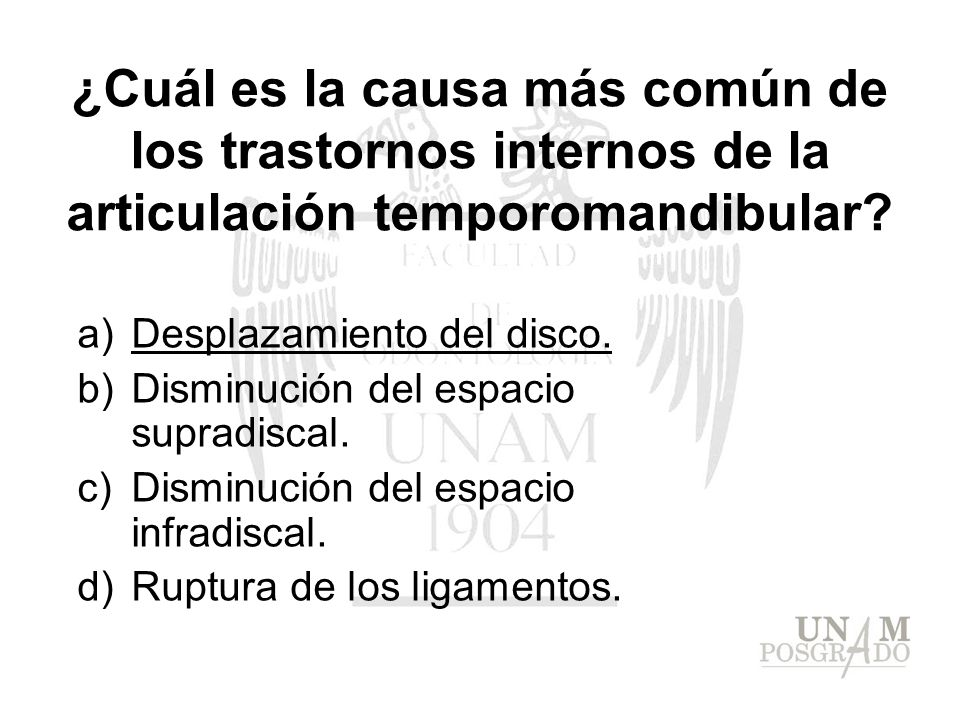 ¿Cuál es la causa más común de los trastornos internos de la articulación temporomandibular