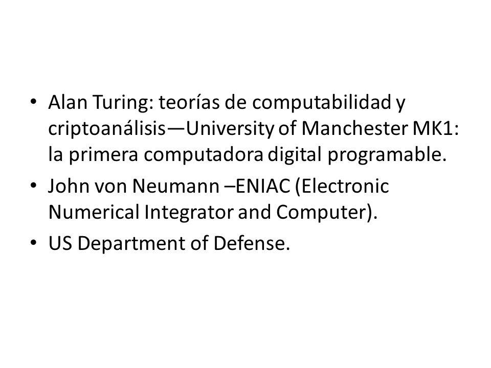 Alan Turing: teorías de computabilidad y criptoanálisis—University of Manchester MK1: la primera computadora digital programable.