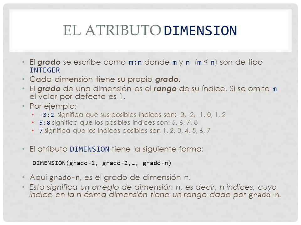 El atributo DImension El grado se escribe como m:n donde m y n (m ≤ n) son de tipo INTEGER. Cada dimensión tiene su propio grado.