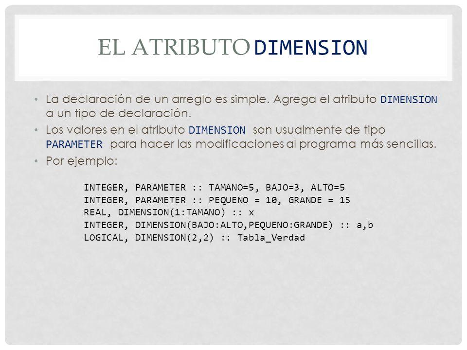 El atributo DImension La declaración de un arreglo es simple. Agrega el atributo DIMENSION a un tipo de declaración.