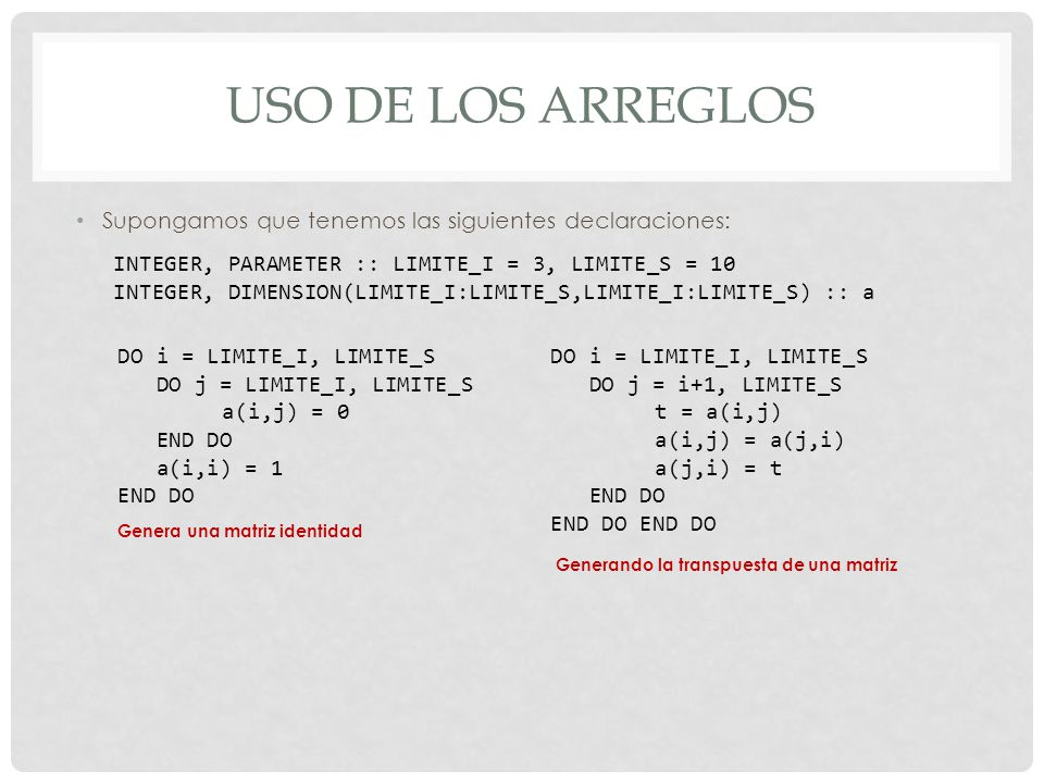 Uso de los arreglos Supongamos que tenemos las siguientes declaraciones: INTEGER, PARAMETER :: LIMITE_I = 3, LIMITE_S = 10.