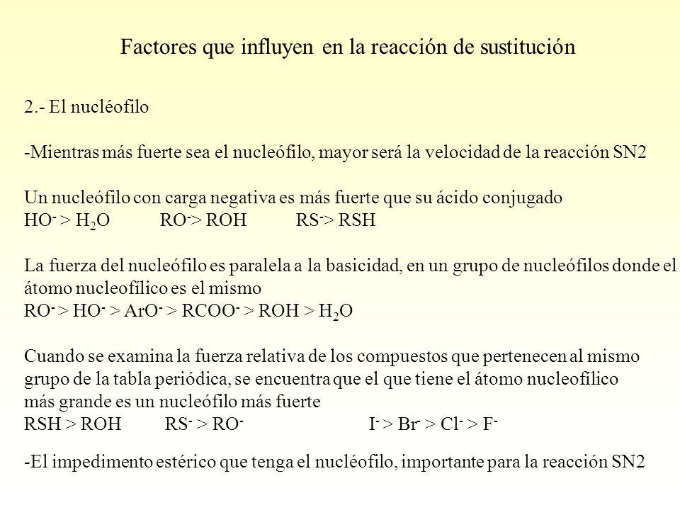 Factores que influyen en la reacción de sustitución
