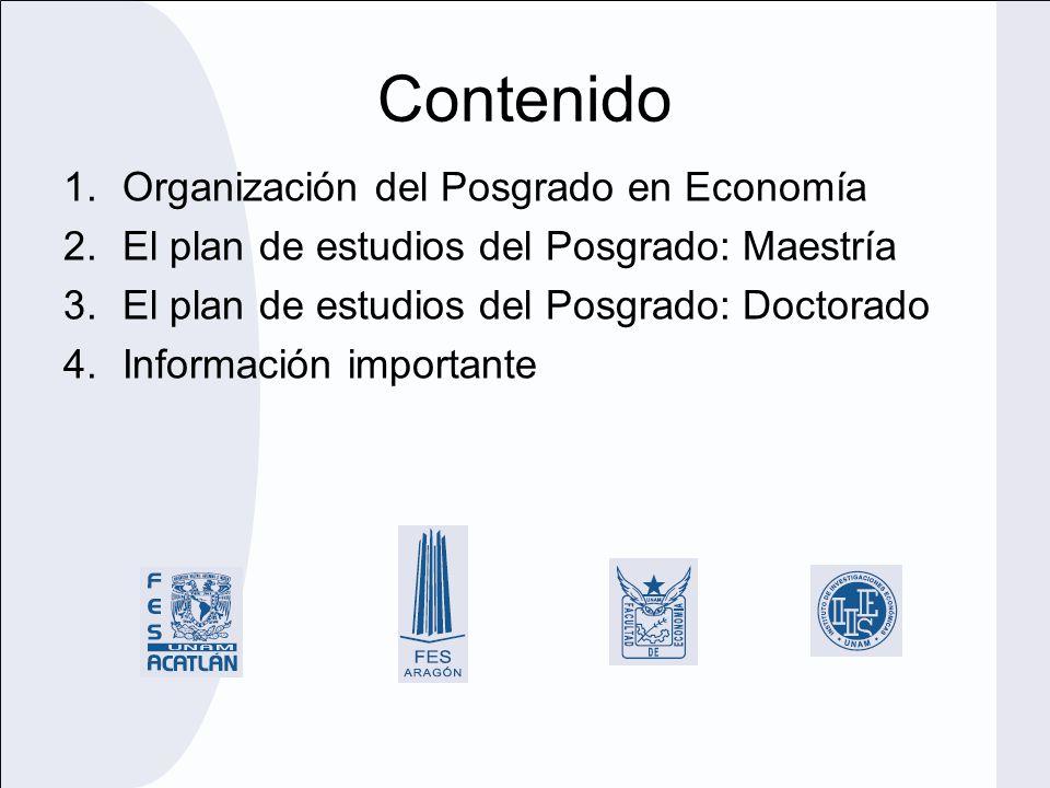 Contenido Organización del Posgrado en Economía