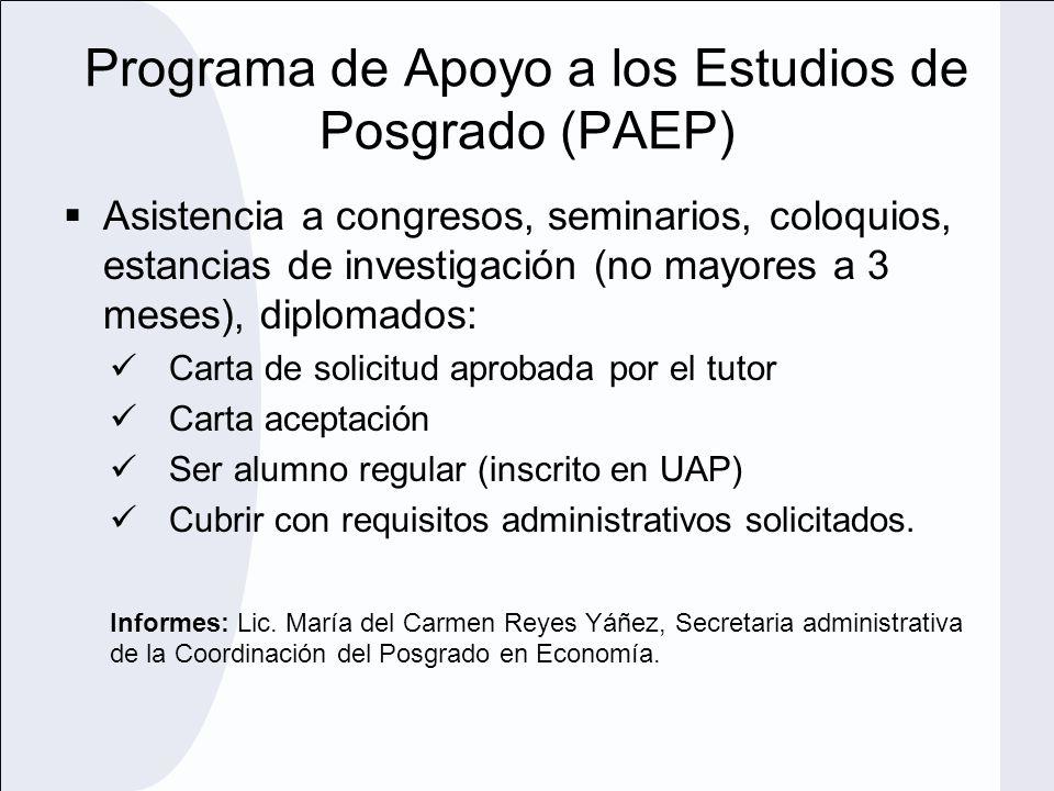 Programa de Apoyo a los Estudios de Posgrado (PAEP)
